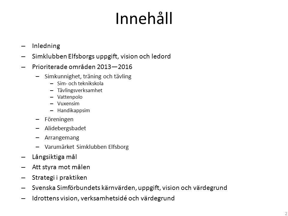 Innehåll – Inledning – Simklubben Elfsborgs uppgift, vision och ledord – Prioriterade områden 2013—2016 – Simkunnighet, träning och tävling – Sim- och