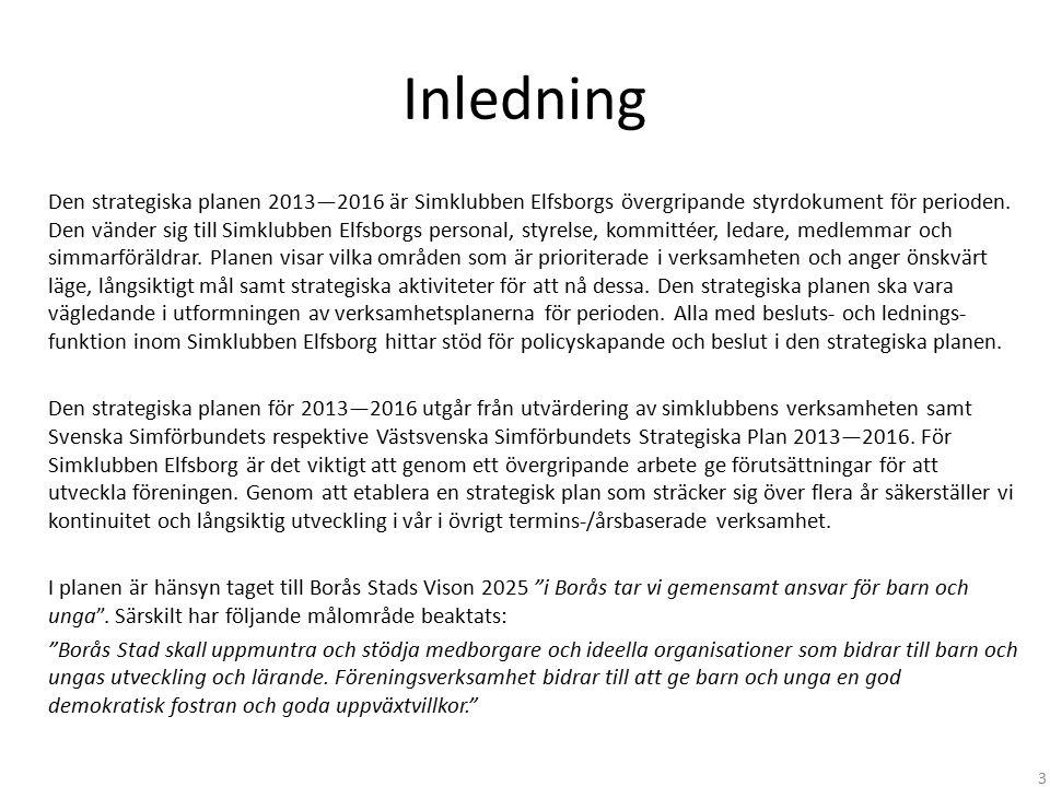 Inledning Den strategiska planen 2013—2016 är Simklubben Elfsborgs övergripande styrdokument för perioden. Den vänder sig till Simklubben Elfsborgs pe