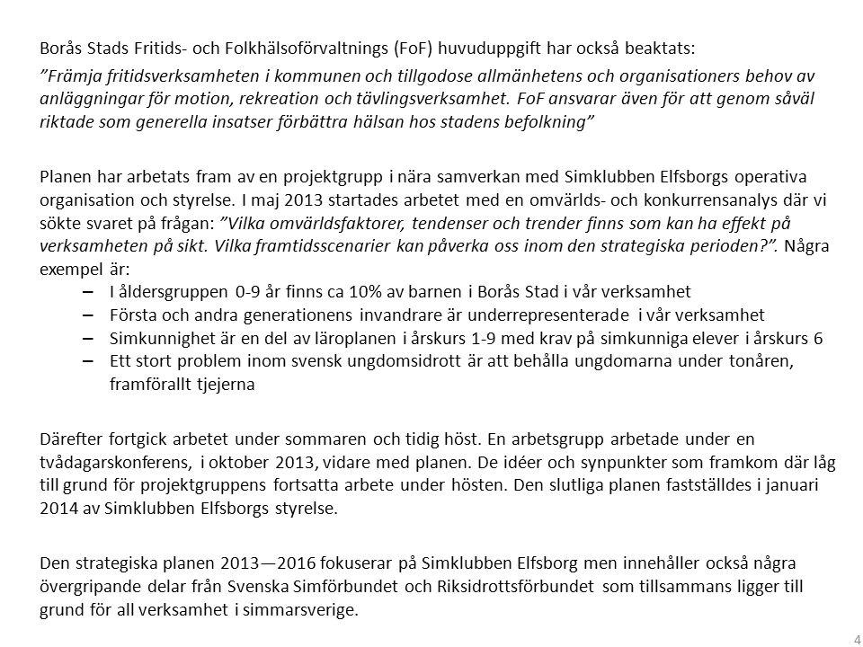 """Borås Stads Fritids- och Folkhälsoförvaltnings (FoF) huvuduppgift har också beaktats: """"Främja fritidsverksamheten i kommunen och tillgodose allmänhete"""