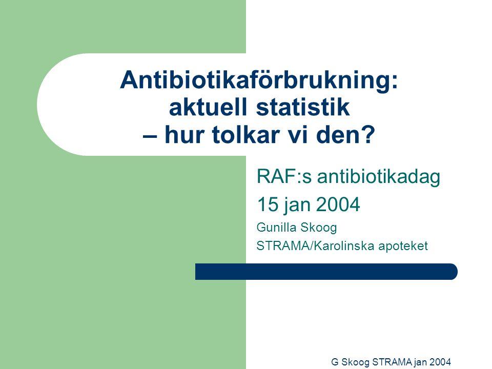 G Skoog STRAMA jan 2004 Antibiotikaförbrukning: aktuell statistik – hur tolkar vi den.