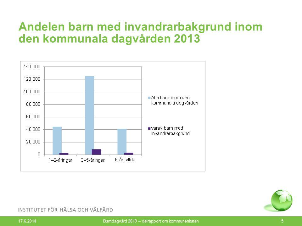 Andelen barn med invandrarbakgrund inom den kommunala dagvården 2013 17.6.2014 Barndagvård 2013 – delrapport om kommunenkäten5