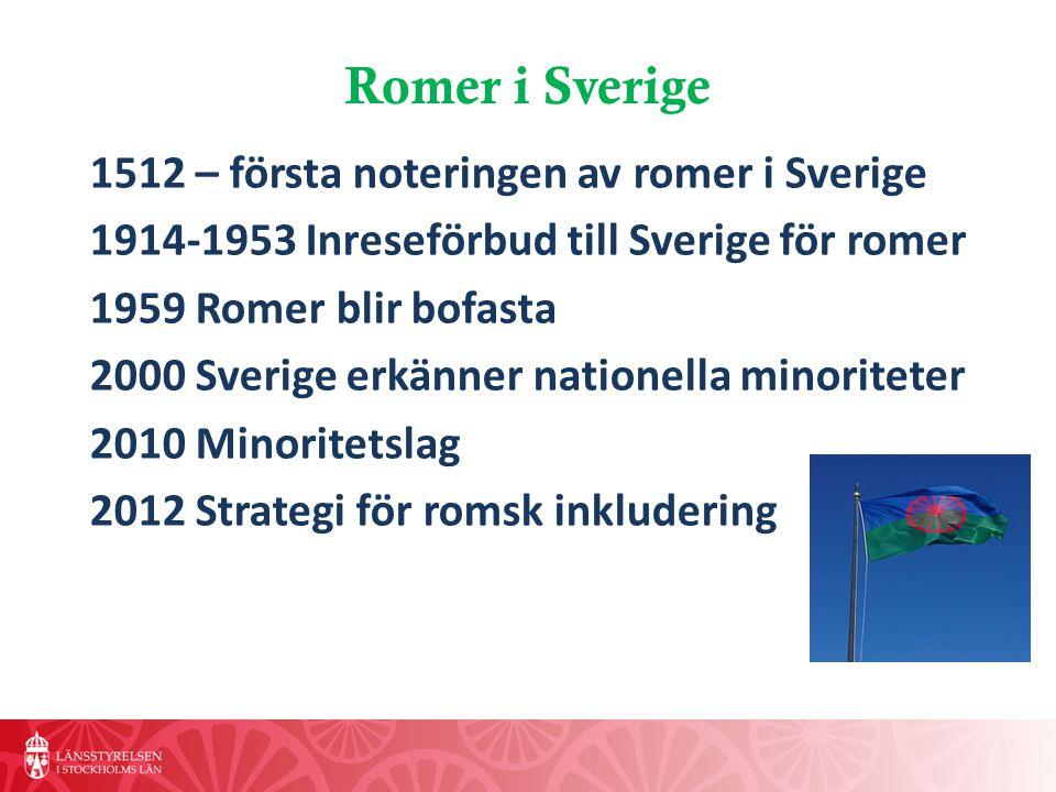 Romer i Sverige 1512 – första noteringen av romer i Sverige 1914-1953 Inreseförbud till Sverige för romer 1959 Romer blir bofasta 2000Sverige erkänner