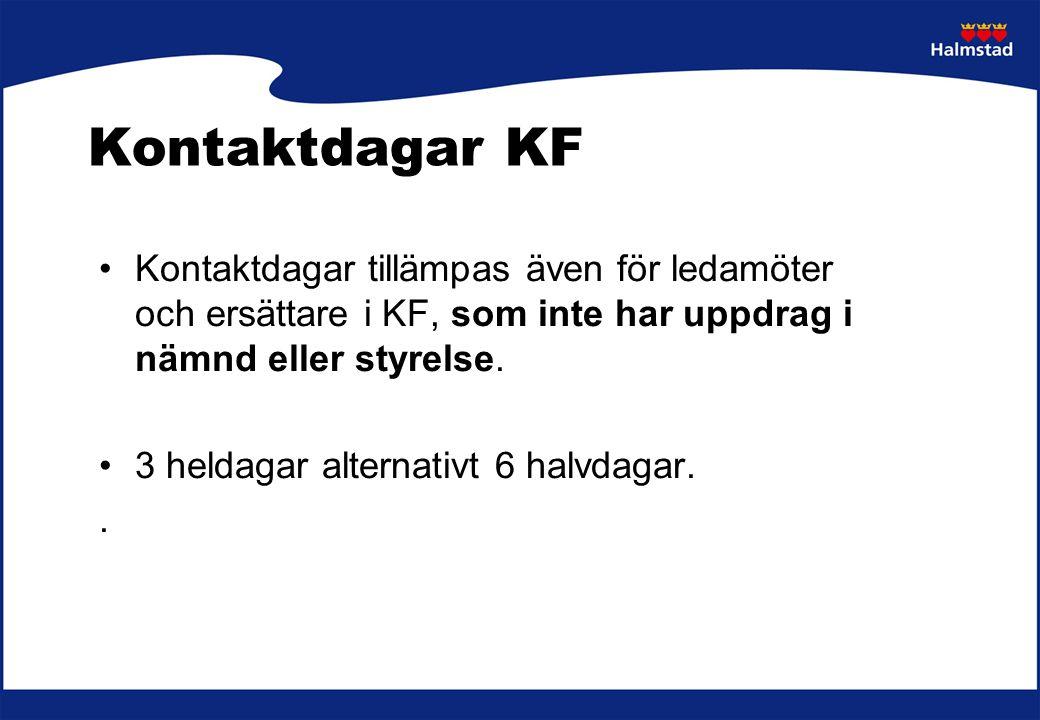 Kontaktdagar KF Kontaktdagar tillämpas även för ledamöter och ersättare i KF, som inte har uppdrag i nämnd eller styrelse. 3 heldagar alternativt 6 ha