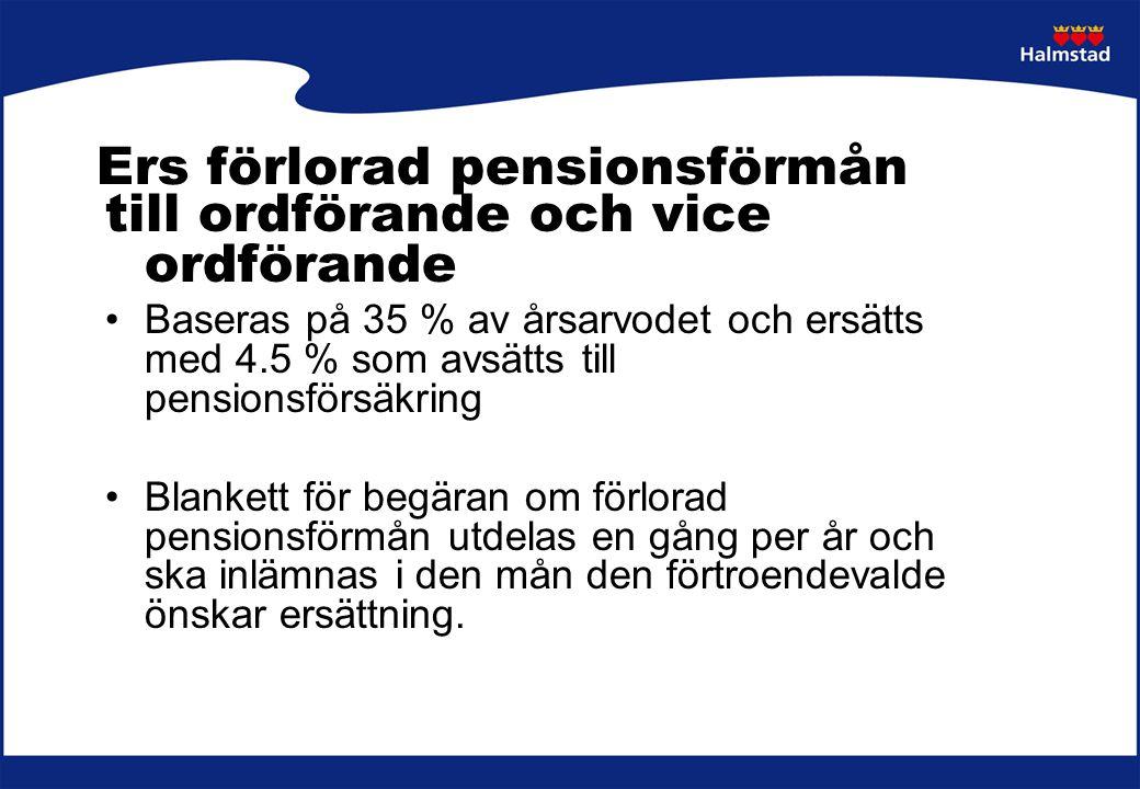 Ers förlorad pensionsförmån till ordförande och vice ordförande Baseras på 35 % av årsarvodet och ersätts med 4.5 % som avsätts till pensionsförsäkrin