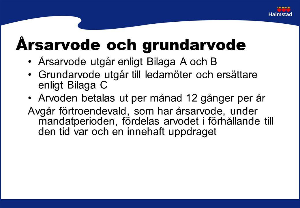 Årsarvode och grundarvode Årsarvode utgår enligt Bilaga A och B Grundarvode utgår till ledamöter och ersättare enligt Bilaga C Arvoden betalas ut per