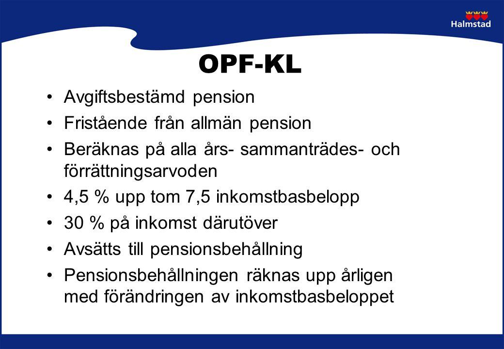 OPF-KL Avgiftsbestämd pension Fristående från allmän pension Beräknas på alla års- sammanträdes- och förrättningsarvoden 4,5 % upp tom 7,5 inkomstbasb