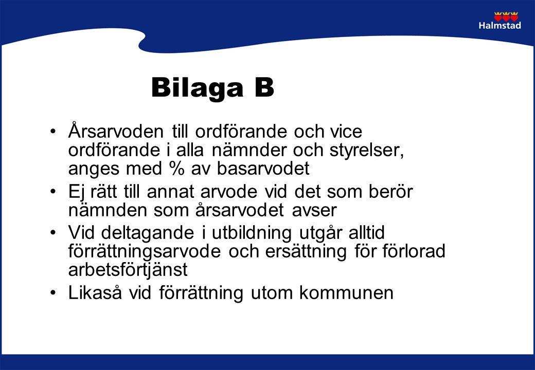 Bilaga B Vid deltagande i ordförande- resp.