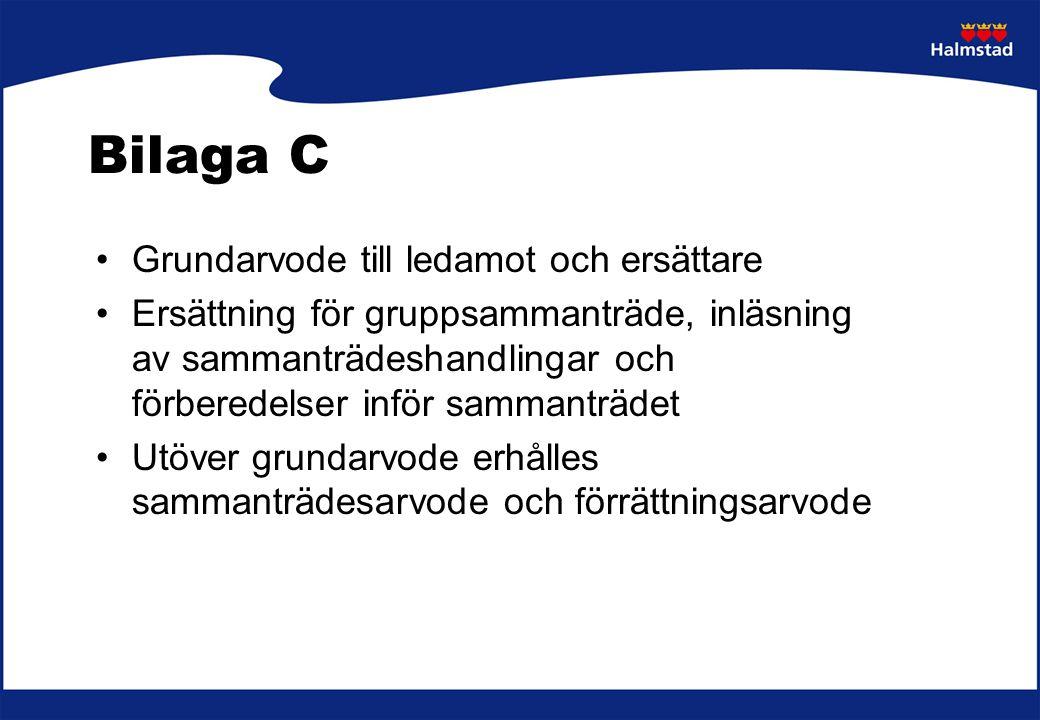 Bilaga C KF 2% 1220 kr/mån KS 1,5% 915 kr/mån KS:s utskott 1,5% 915 kr/mån Nämnder och styrelser 1,5 % 915 kr/mån Individutskott 1 % 610 kr/mån Valnämnd ej valår 1 % 610 kr/mån
