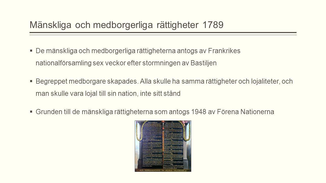Mänskliga och medborgerliga rättigheter 1789  De mänskliga och medborgerliga rättigheterna antogs av Frankrikes nationalförsamling sex veckor efter s