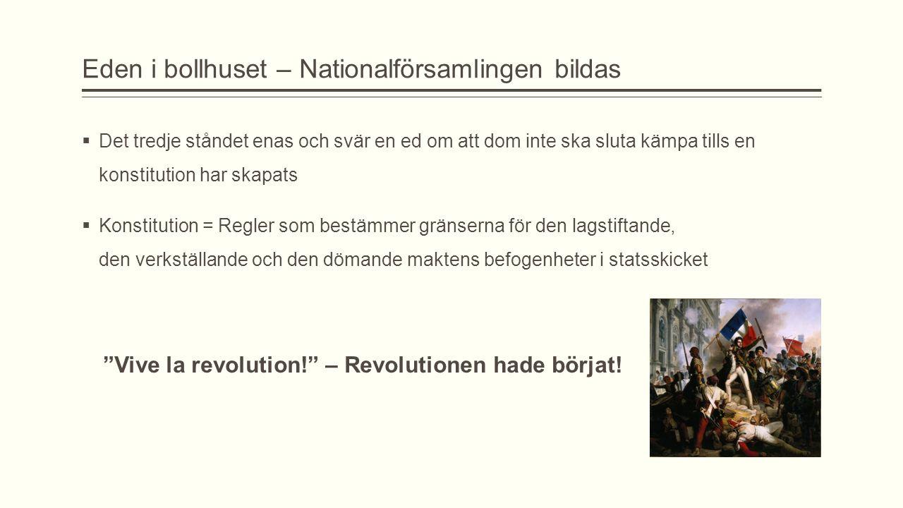 Eden i bollhuset – Nationalförsamlingen bildas  Det tredje ståndet enas och svär en ed om att dom inte ska sluta kämpa tills en konstitution har skap