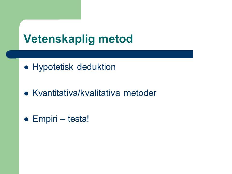 Vetenskaplig metod Hypotetisk deduktion Kvantitativa/kvalitativa metoder Empiri – testa!