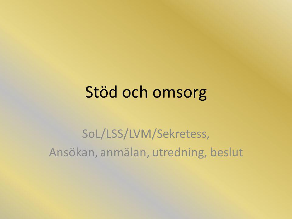 Stöd och omsorg SoL/LSS/LVM/Sekretess, Ansökan, anmälan, utredning, beslut