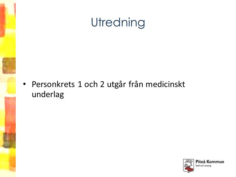 Utredning Personkrets 1 och 2 utgår från medicinskt underlag