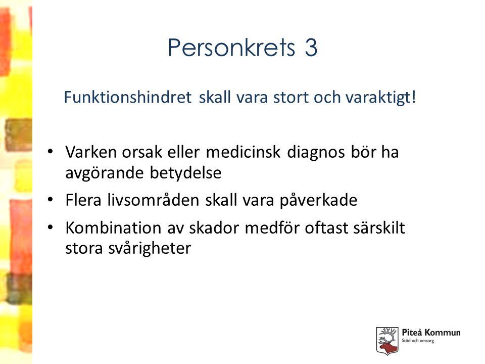 Personkrets 3 Varken orsak eller medicinsk diagnos bör ha avgörande betydelse Flera livsområden skall vara påverkade Kombination av skador medför ofta
