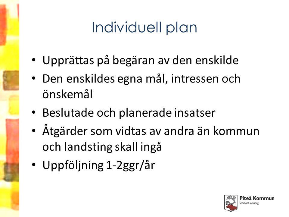 Individuell plan Upprättas på begäran av den enskilde Den enskildes egna mål, intressen och önskemål Beslutade och planerade insatser Åtgärder som vid
