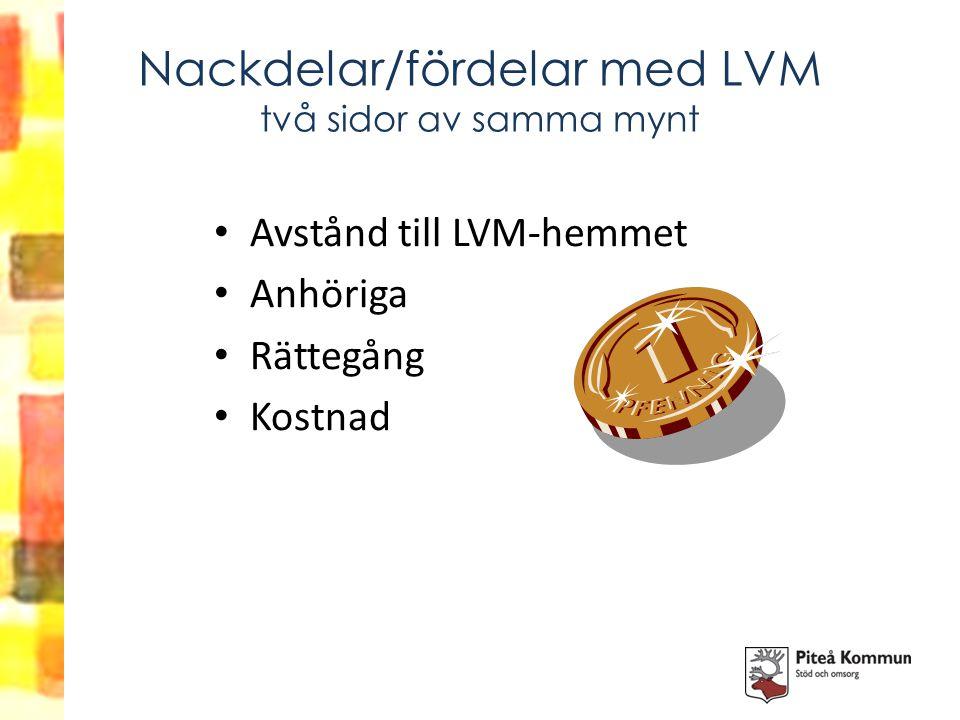 Nackdelar/fördelar med LVM två sidor av samma mynt Avstånd till LVM-hemmet Anhöriga Rättegång Kostnad