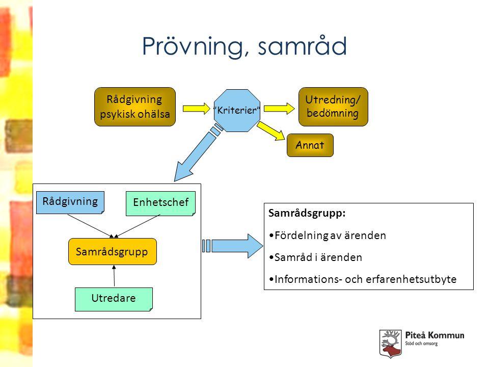 """Prövning, samråd Rådgivning psykisk ohälsa """"Kriterier"""" Utredning/ bedömning Annat Samrådsgrupp: Fördelning av ärenden Samråd i ärenden Informations- o"""