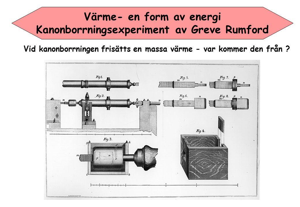 Värme- en form av energi Kanonborrningsexperiment av Greve Rumford Vid kanonborrningen frisätts en massa värme - var kommer den från ?