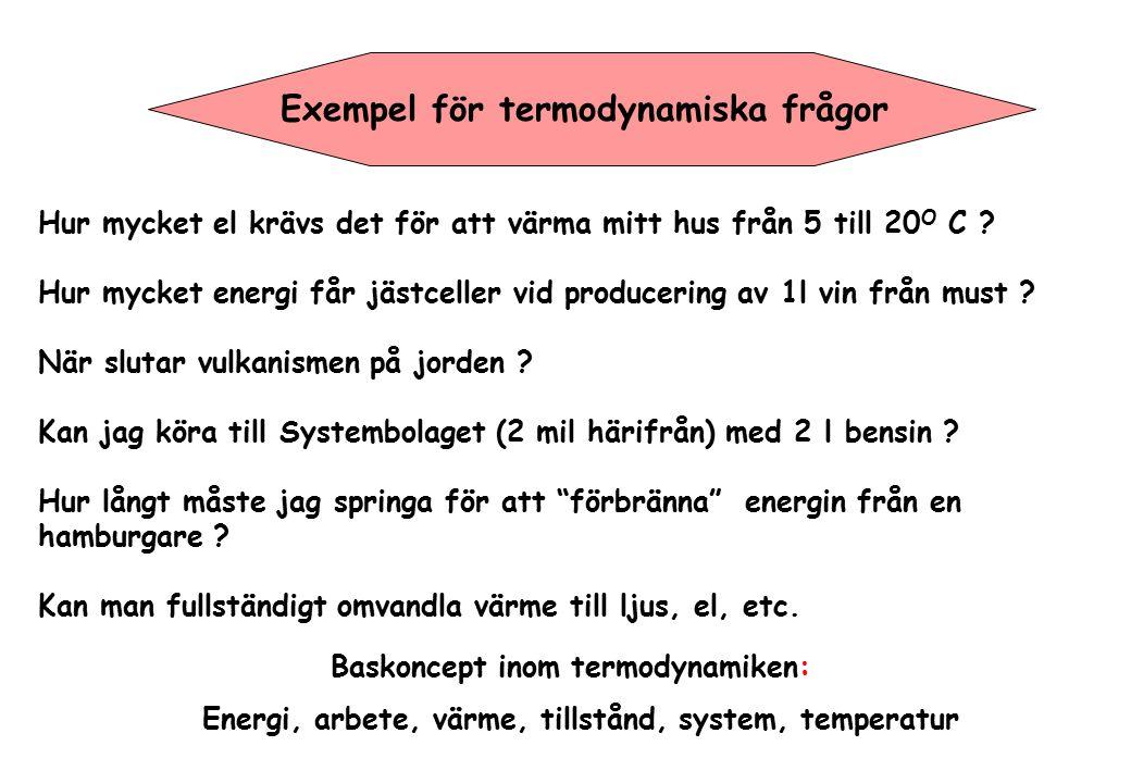 Exempel för termodynamiska frågor Hur mycket el krävs det för att värma mitt hus från 5 till 20 O C ? Hur mycket energi får jästceller vid producering