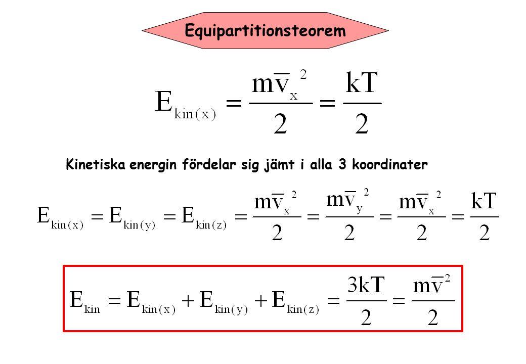 Equipartitionsteorem Kinetiska energin fördelar sig jämt i alla 3 koordinater