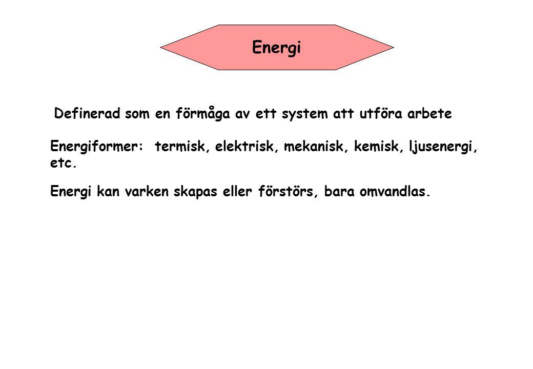 Energi Definerad som en förmåga av ett system att utföra arbete Energiformer: termisk, elektrisk, mekanisk, kemisk, ljusenergi, etc. Energi kan varken