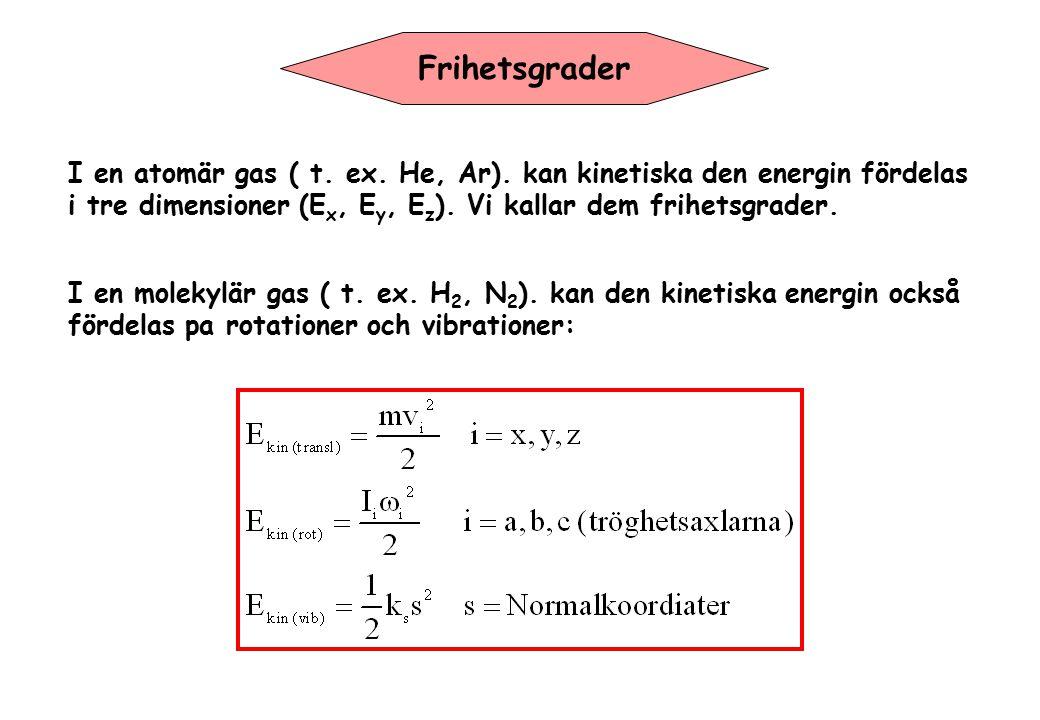 Frihetsgrader I en atomär gas ( t. ex. He, Ar). kan kinetiska den energin fördelas i tre dimensioner (E x, E y, E z ). Vi kallar dem frihetsgrader. I