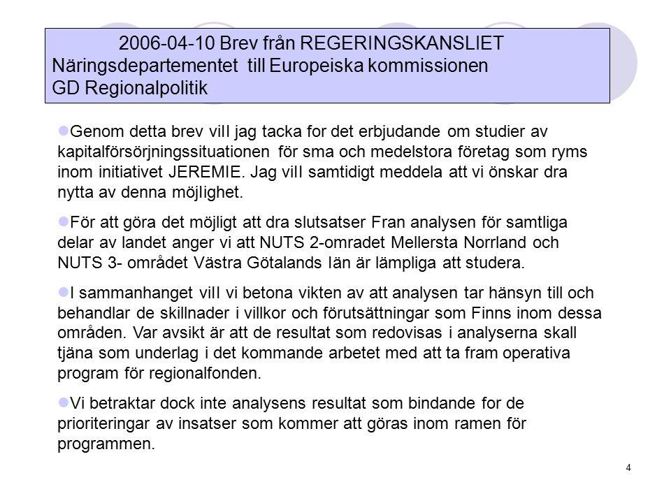 4 2006-04-10 Brev från REGERINGSKANSLIET Näringsdepartementet till Europeiska kommissionen GD Regionalpolitik Genom detta brev viII jag tacka for det erbjudande om studier av kapitalförsörjningssituationen för sma och medelstora företag som ryms inom initiativet JEREMIE.