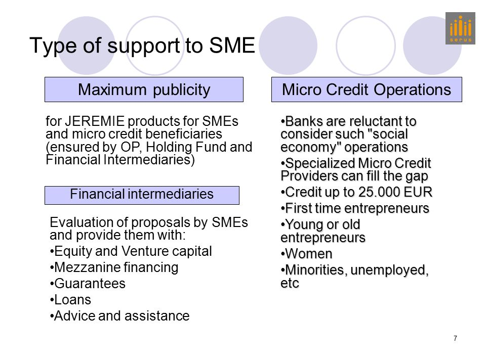 8 Types of Financial instruments Venture capital and equity: equity investments in venture capital funds and business incubators that support SMEs Provision of equity to financial institutions (microfinance providers) to enhance their lending capacity Technology transfer: equity investments in venture capital funds and business incubators that support SMEs SME guarantees: guarantees (or counter) to financial institutions that give loans (or guarantees) to SMEs.