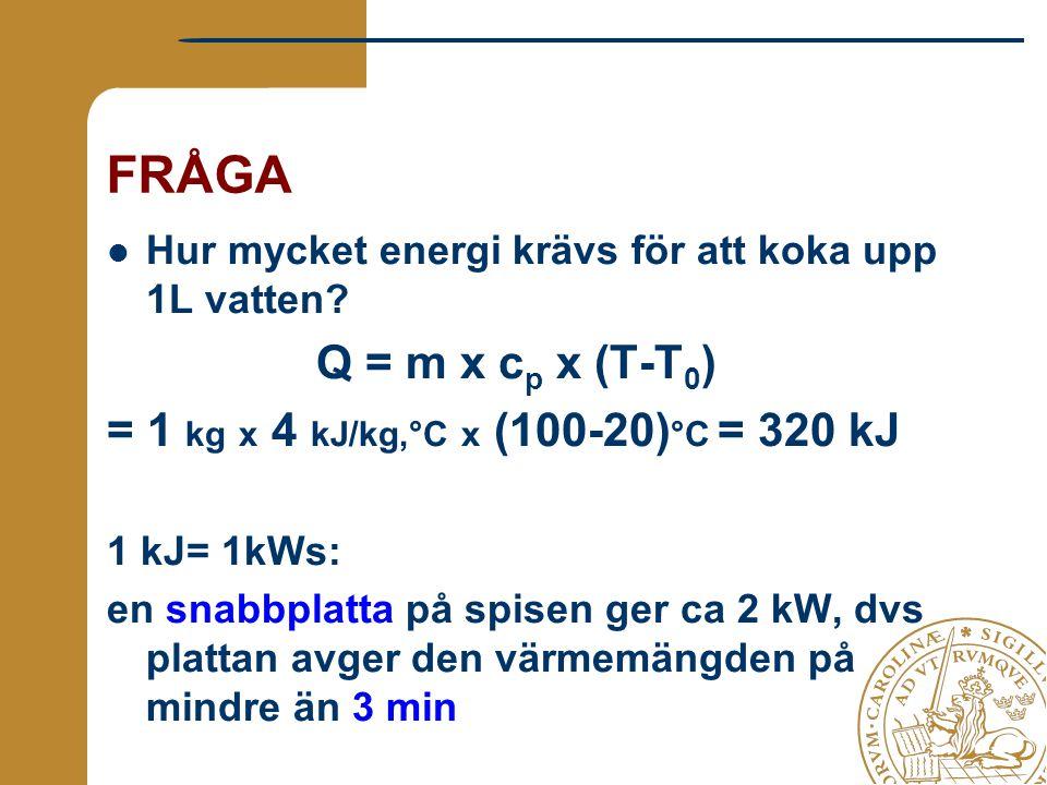 FRÅGA Hur mycket energi krävs för att koka upp 1L vatten? Q = m x c p x (T-T 0 ) = 1 kg x 4 kJ/kg,°C x (100-20) °C = 320 kJ 1 kJ= 1kWs: en snabbplatta