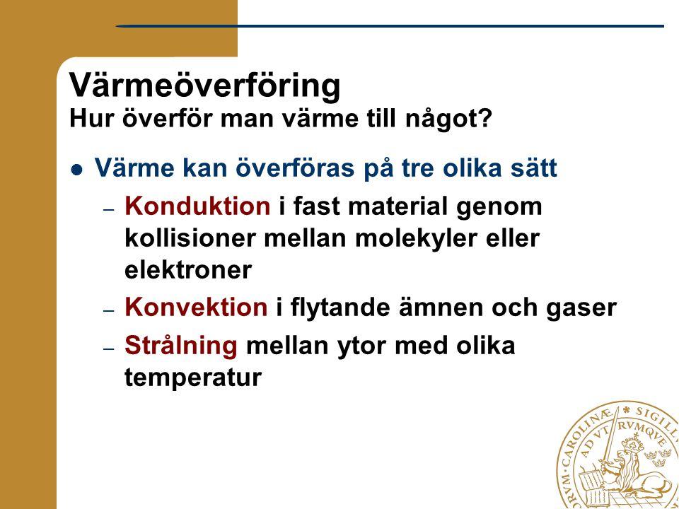 Värmeöverföring Hur överför man värme till något? Värme kan överföras på tre olika sätt – Konduktion i fast material genom kollisioner mellan molekyle