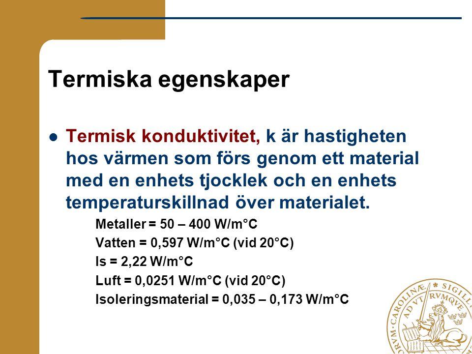 Termiska egenskaper Termisk konduktivitet, k är hastigheten hos värmen som förs genom ett material med en enhets tjocklek och en enhets temperaturskil