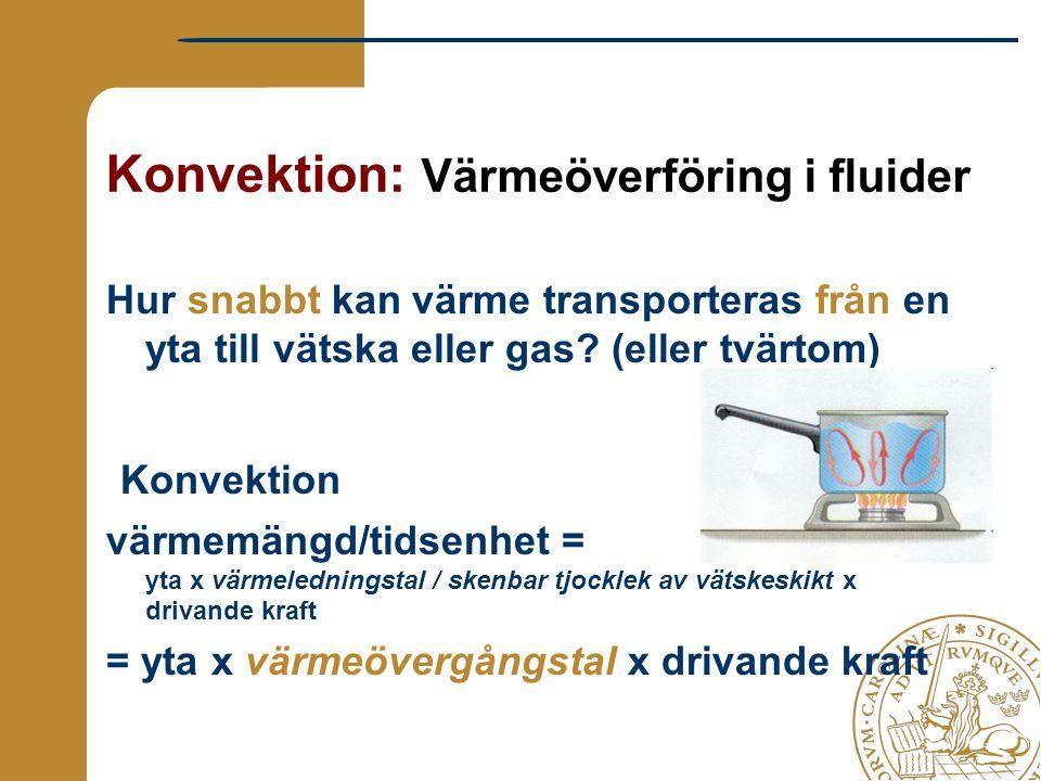Konvektion: Värmeöverföring i fluider Hur snabbt kan värme transporteras från en yta till vätska eller gas? (eller tvärtom) Konvektion värmemängd/tids