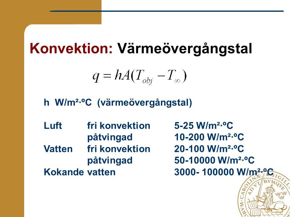 Konvektion: Värmeövergångstal h W/m²·ºC (värmeövergångstal) Luft fri konvektion 5-25 W/m²·ºC påtvingad 10-200 W/m²·ºC Vatten fri konvektion 20-100 W/m