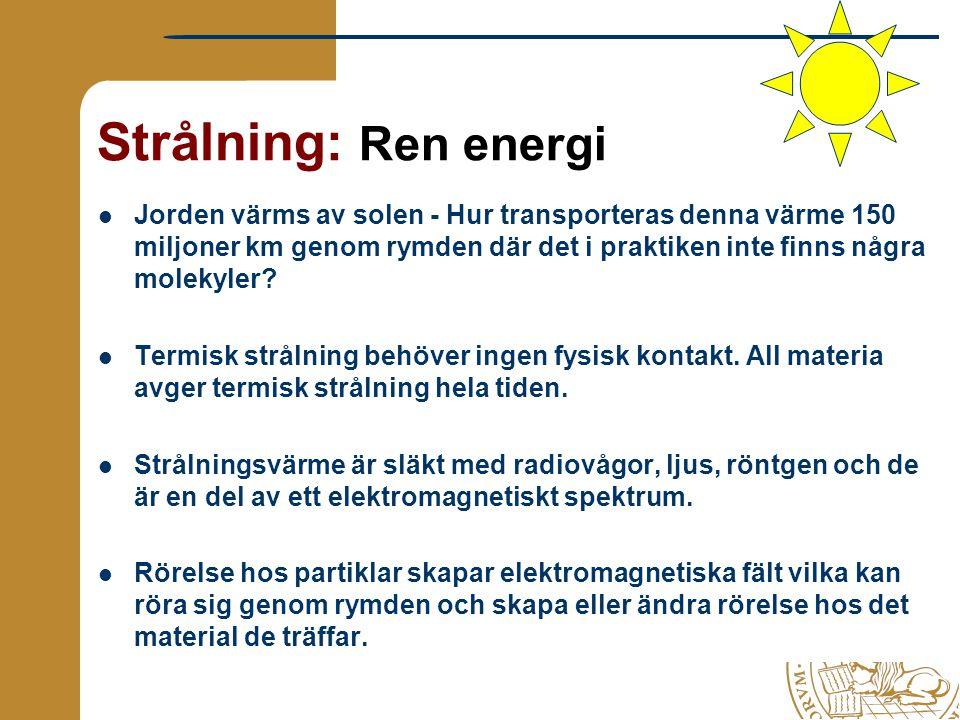 Strålning: Ren energi Jorden värms av solen - Hur transporteras denna värme 150 miljoner km genom rymden där det i praktiken inte finns några molekyle