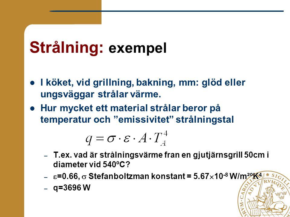 """Strålning: exempel I köket, vid grillning, bakning, mm: glöd eller ungsväggar strålar värme. Hur mycket ett material strålar beror på temperatur och """""""