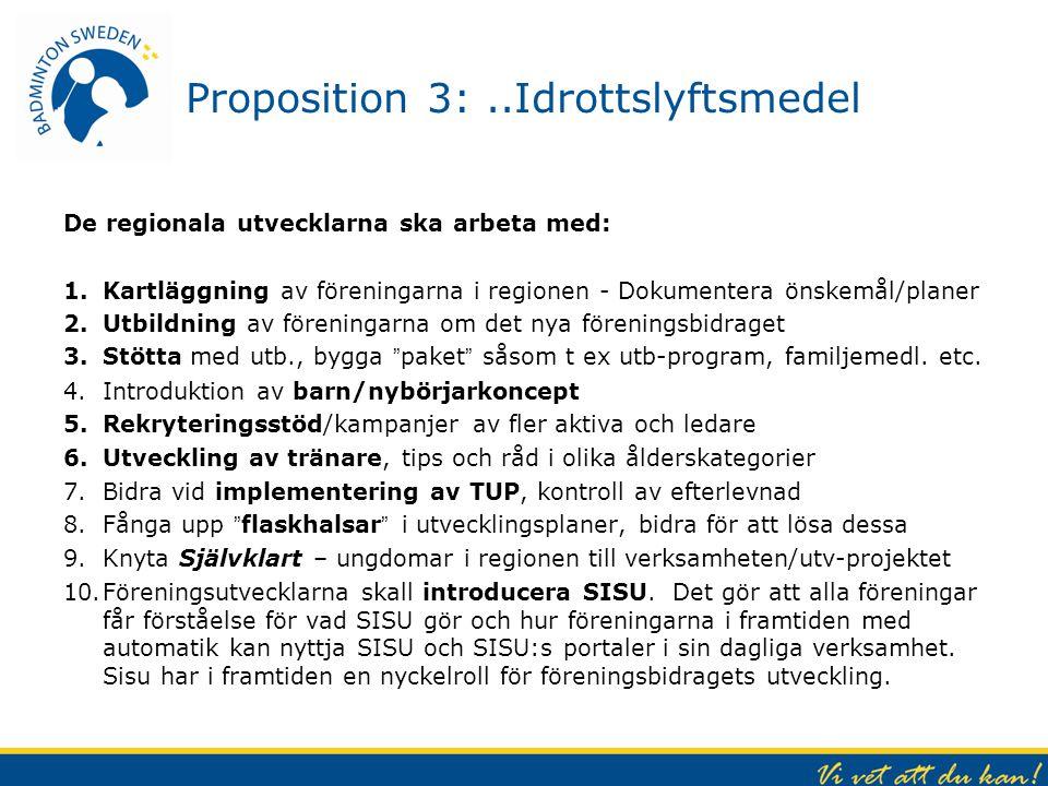 Proposition 3:..Idrottslyftsmedel De regionala utvecklarna ska arbeta med: 1.Kartläggning av föreningarna i regionen - Dokumentera önskemål/planer 2.U