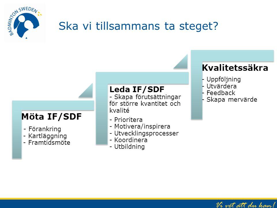 Ska vi tillsammans ta steget? Möta IF/SDF - Förankring - Kartläggning - Framtidsmöte Leda IF/SDF - Skapa förutsättningar för större kvantitet och kval