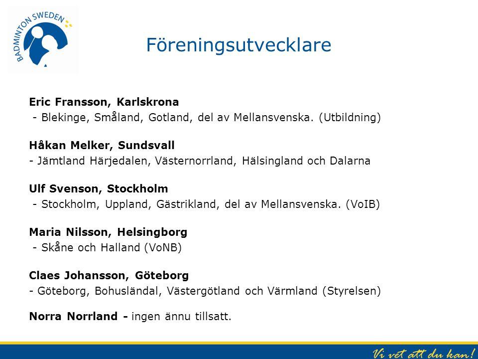 Föreningsutvecklare Eric Fransson, Karlskrona - Blekinge, Småland, Gotland, del av Mellansvenska. (Utbildning) Håkan Melker, Sundsvall - Jämtland Härj