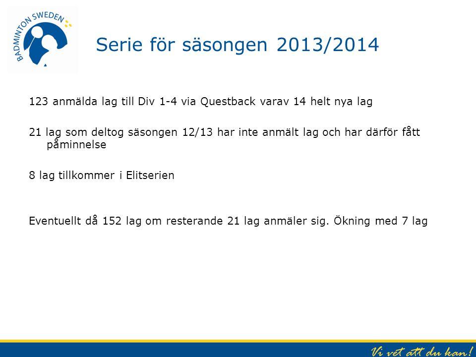 Serie för säsongen 2013/2014 123 anmälda lag till Div 1-4 via Questback varav 14 helt nya lag 21 lag som deltog säsongen 12/13 har inte anmält lag och