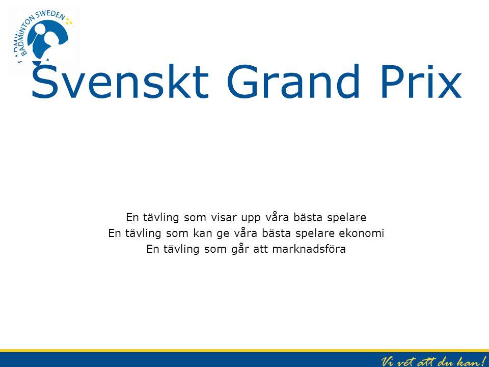 Svenskt Grand Prix En tävling som visar upp våra bästa spelare En tävling som kan ge våra bästa spelare ekonomi En tävling som går att marknadsföra