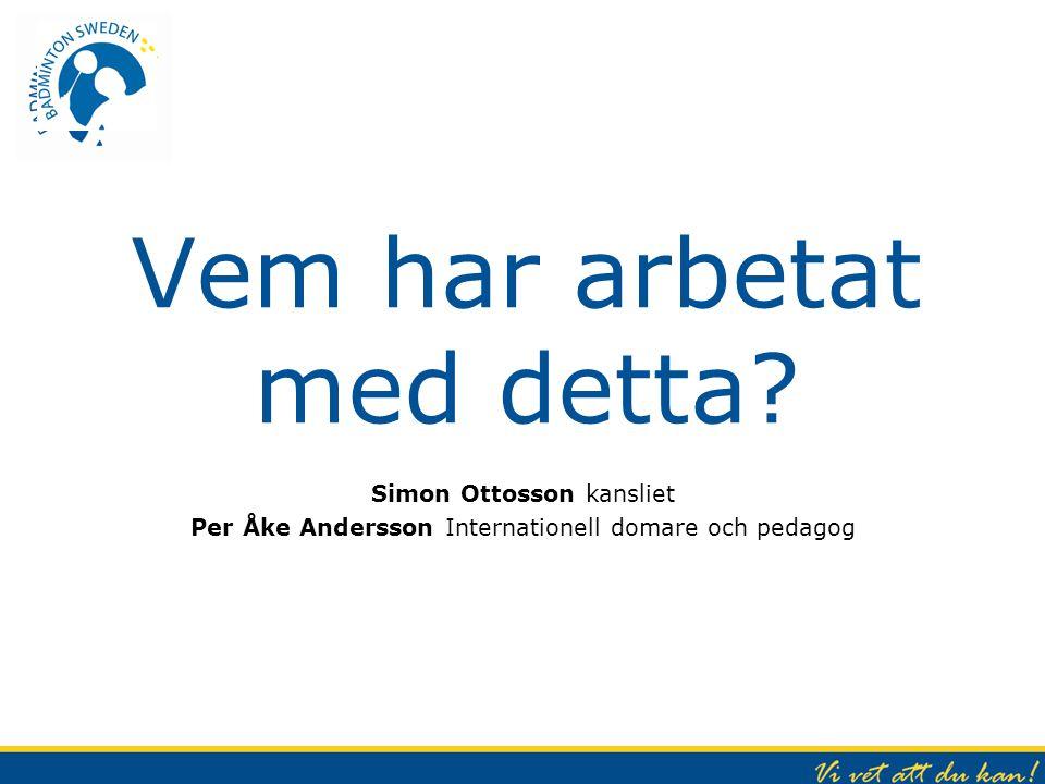 Vem har arbetat med detta? Simon Ottosson kansliet Per Åke Andersson Internationell domare och pedagog