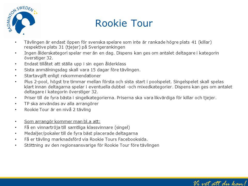 Rookie Tour Tävlingen är endast öppen för svenska spelare som inte är rankade högre plats 41 (killar) respektive plats 31 (tjejer) på Sverigerankingen