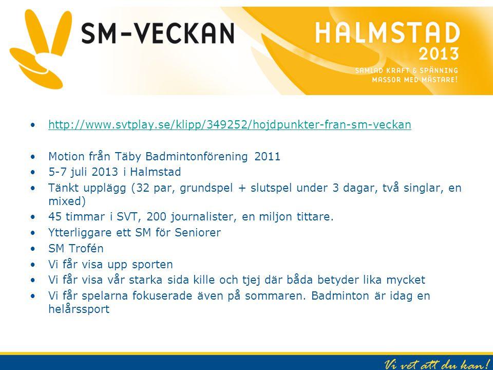 SM Veckan 2013 http://www.svtplay.se/klipp/349252/hojdpunkter-fran-sm-veckan Motion från Täby Badmintonförening 2011 5-7 juli 2013 i Halmstad Tänkt up