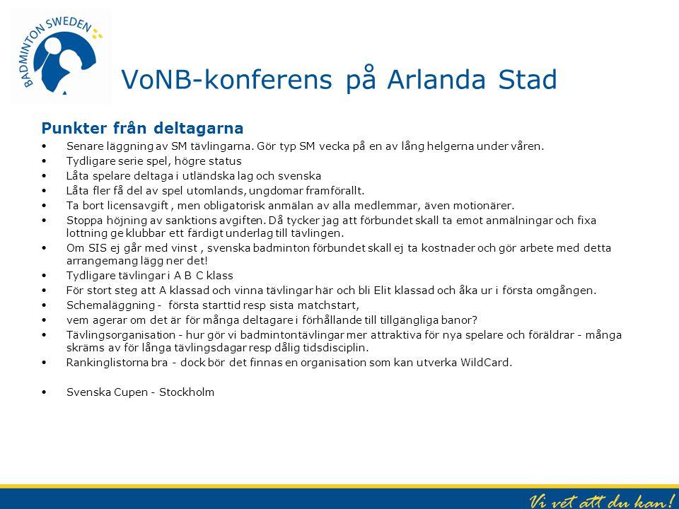 VoNB-konferens på Arlanda Stad Punkter från deltagarna Senare läggning av SM tävlingarna. Gör typ SM vecka på en av lång helgerna under våren. Tydliga