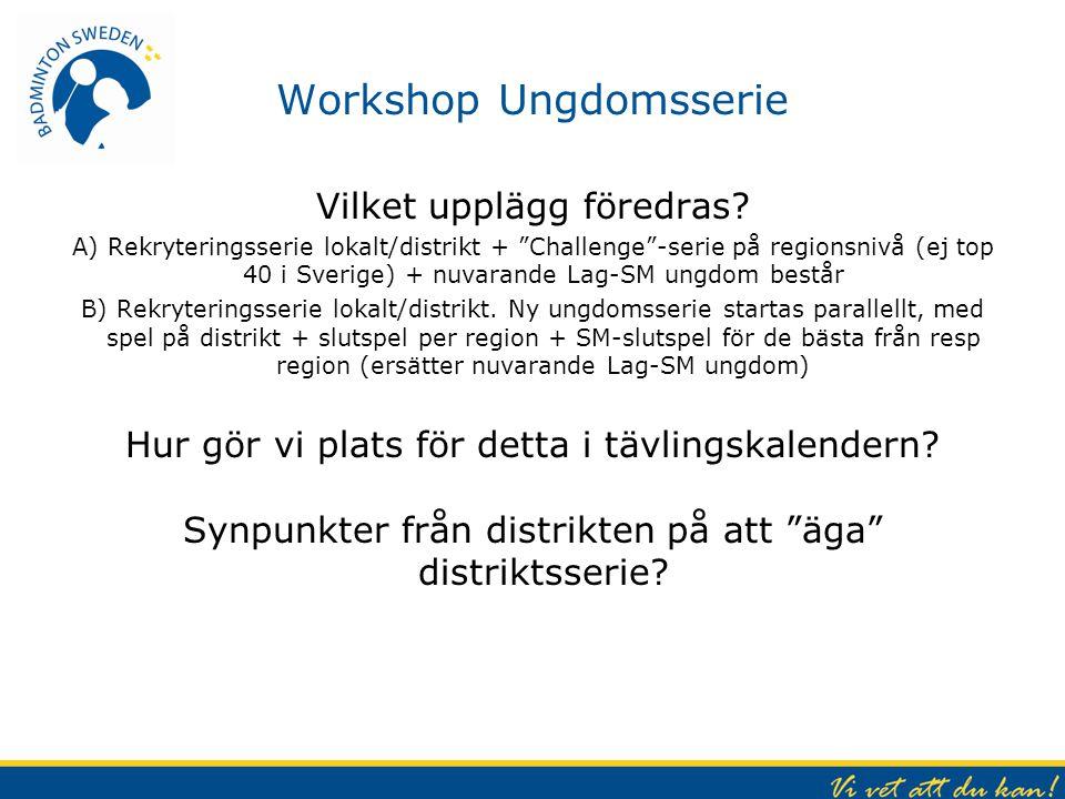 """Workshop Ungdomsserie Vilket upplägg föredras? A) Rekryteringsserie lokalt/distrikt + """"Challenge""""-serie på regionsnivå (ej top 40 i Sverige) + nuvaran"""