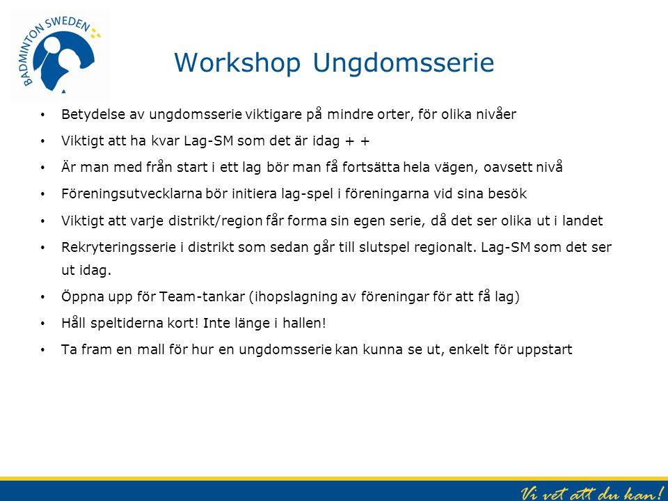 Workshop Ungdomsserie Betydelse av ungdomsserie viktigare på mindre orter, för olika nivåer Viktigt att ha kvar Lag-SM som det är idag + + Är man med