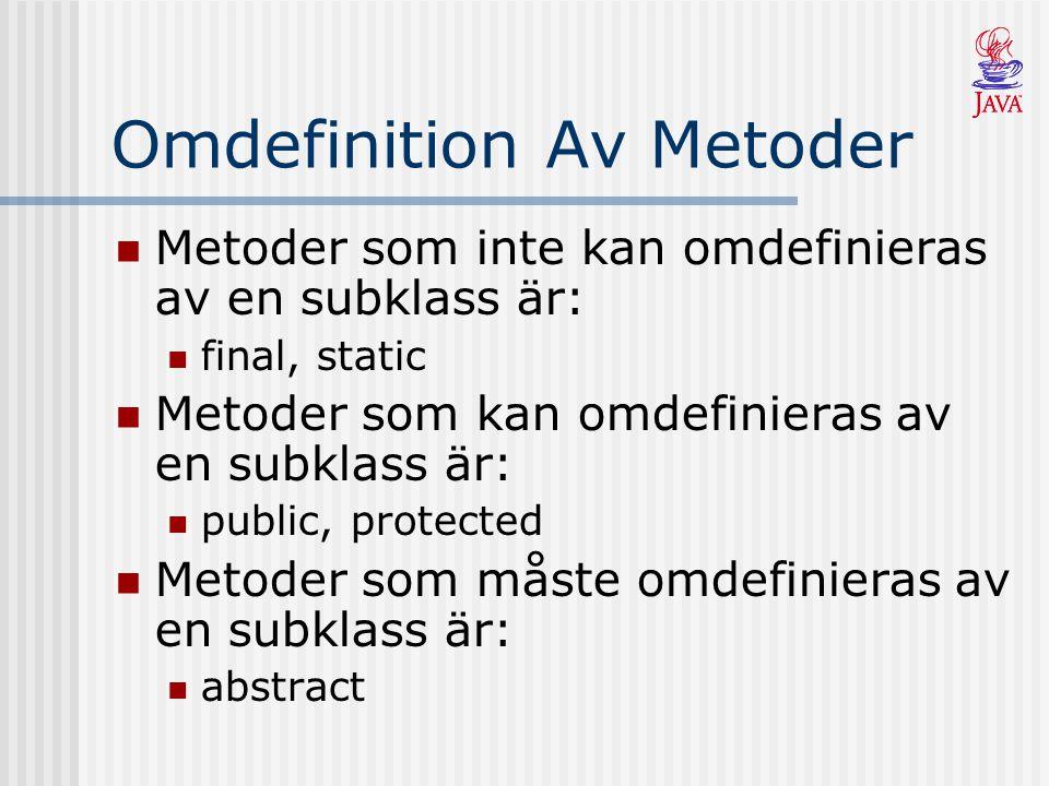 Omdefinition Av Metoder Metoder som inte kan omdefinieras av en subklass är: final, static Metoder som kan omdefinieras av en subklass är: public, protected Metoder som måste omdefinieras av en subklass är: abstract