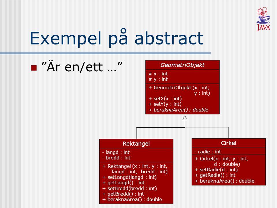 Exempel på abstract Är en/ett … GeometriObjekt # x : int # y : int + GeometriObjekt (x : int, y : int) + setX(x : int) + setY(y : int) + beraknaArea() : double Rektangel - langd : int - bredd : int + Rektangel (x : int, y : int, langd : int, bredd : int) + setLangd(langd : int) + getLangd() : int + setBredd(bredd : int) + getBredd() : int + beraknaArea() : double Cirkel - radie : int + Cirkel(x : int, y : int, d : double) + setRadie(d : int) + getRadie() : int + beraknaArea() : double