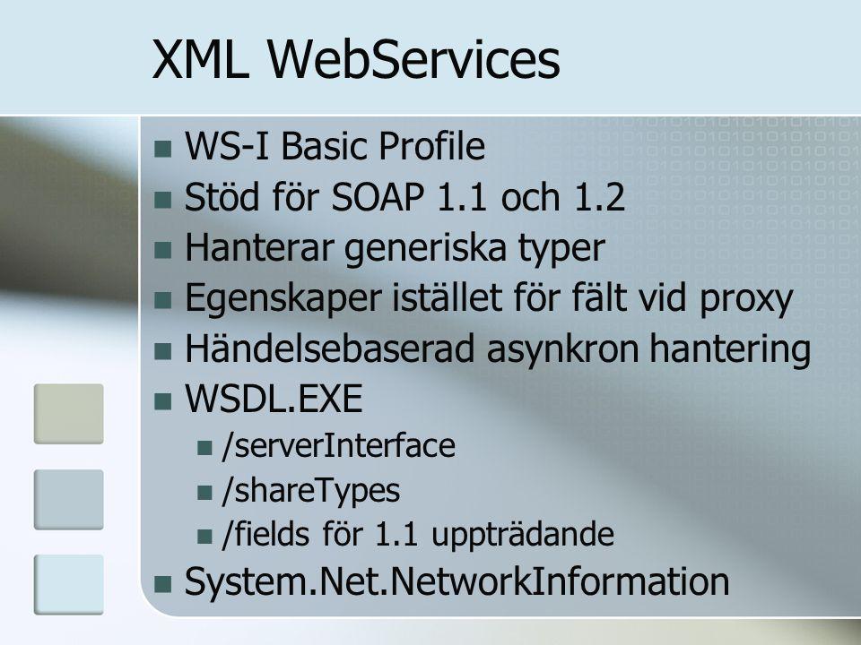 XML WebServices WS-I Basic Profile Stöd för SOAP 1.1 och 1.2 Hanterar generiska typer Egenskaper istället för fält vid proxy Händelsebaserad asynkron hantering WSDL.EXE /serverInterface /shareTypes /fields för 1.1 uppträdande System.Net.NetworkInformation