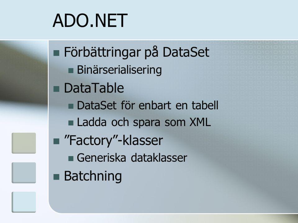 ADO.NET Förbättringar på DataSet Binärserialisering DataTable DataSet för enbart en tabell Ladda och spara som XML Factory -klasser Generiska dataklasser Batchning